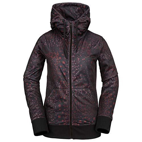 (Volcom Women's Cascara Baselayer Hydrophobic Fleece Hooded Sweatshirt, Black Floral Print, Medium)