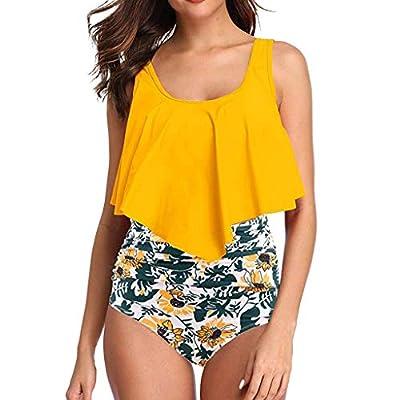 Floral Printed High Waisted Bikini Set Womens Tummy Control 2PC Bathing Suit Ruffle Swimsuit Flounce Peplum Swimwear