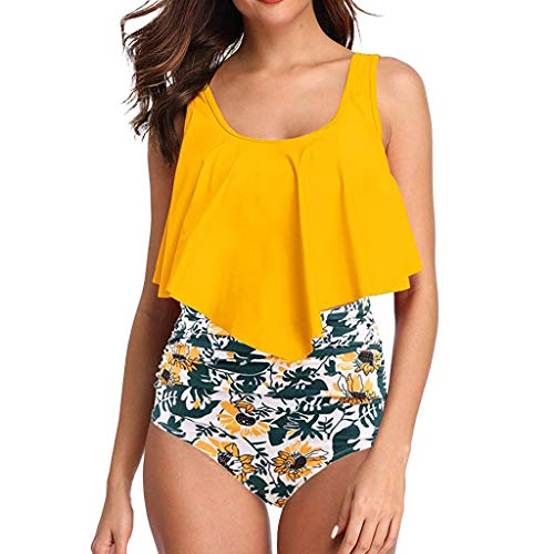 - DaySeventh Summer Deals 2019 ! Women High Waisted Bikini Swimsuit Two Piece Bathing Suit Top with Swim Bottom Yellow