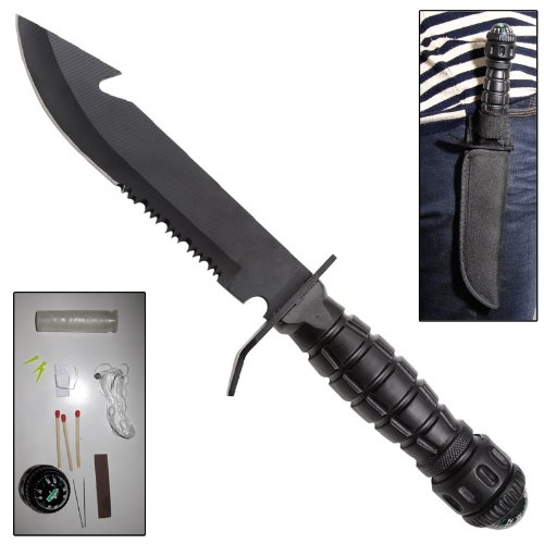 Pull the Pin Military Survival Serrated Fixed Blade Knife