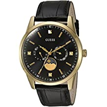 GUESS Men's U0868G2 Dressy Gold-Tone Stainless Steel Watch with Multi-function Dial and Black Strap Buckle