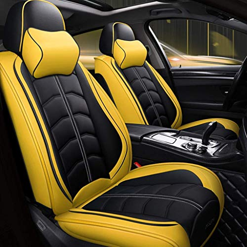 Universal car seat cover, complete set, leather, 5 seats - leather - all year (color: yellow):