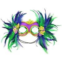 Máscara 48035 Mardi Gras Máscara de satén y plumas, púrpura