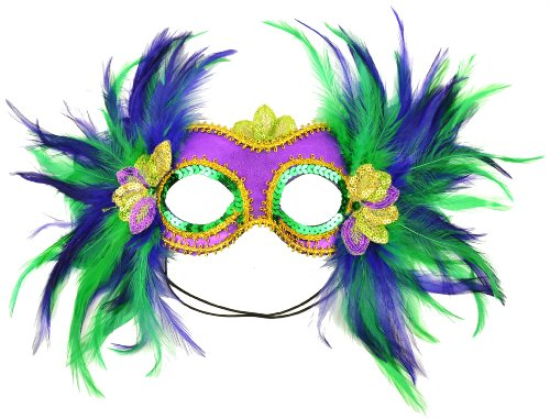 Mask It 48035 Mardi Gras Satin and Feather Half Mask, - Feather Green Mask