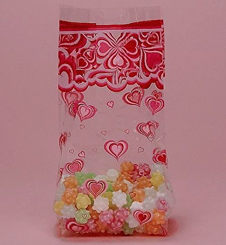 Groovy Hearts Cello Bags, Pack of 25 Great for Valentines Day or ()