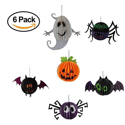 Spirit Locations Halloween Costumes (Pack of 6 Halloween Decorations Handing Paper Lanterns, Pumpkin, Bats, Spiders, Ghost)