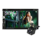"KKmoon Universal HD 7.0"" Touch Screen 2 Din In-Dash Car Stereo DVD CD Bluetooth Receiver and Player Multimedia Radio Entertainment Support USB / TF FM Aux Input TV with HD Rear View Camera"