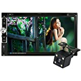 KKmoon Universal HD 7.0 Touch Screen 2 Din In-Dash Car Stereo DVD CD BT Receiver and Player Multimedia Radio Entertainment Support USB / TF FM Aux Input TV with HD Rear View Camera
