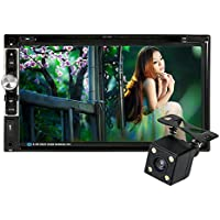 KKmoon Universal HD 7.0 Touch Screen 2 Din In-Dash Car Stereo DVD CD Bluetooth Receiver and Player Multimedia Radio Entertainment Support USB / TF FM Aux Input TV with HD Rear View Camera