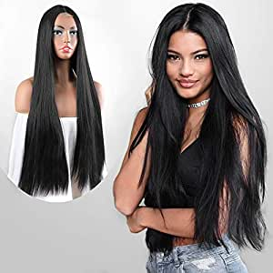 HMD Long Black Wig Straight Wigs for Women 30 Inches Middle Part Wig Long Synthetic Wig for Daily Wear (Color:Black)