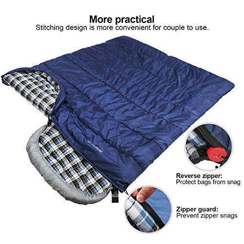 61b1269592f REDCAMP Cotton Flannel Sleeping Bag for Adults