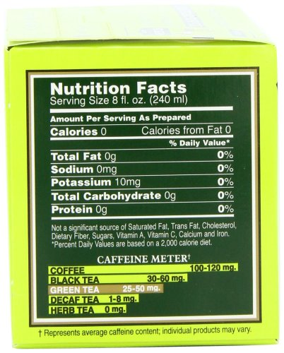 Bigelow Green Tea Bags, 20 Count Box (Pack of 6) Caffeinated Green Tea, 120 Tea Bags Total 5 DELICATE GREEN TEA: Our Classic Green Tea provides essential antioxidants making it delicious & healthy! Enjoy it as traditional hot tea or iced tea. INDIVIDUALLY WRAPPED: Bigelow tea always come individually wrapped in foil pouches for peak flavor, freshness and aroma to enjoy everywhere you go! Gluten -free, calorie-free, & Kosher certified. TRY EVERY FLAVOR: There's a tea for morning, noon & night time relaxation. Try our English Breakfast, Vanilla Chai, antioxidant Green Tea, decaffeinated, organic teas & a variety of our herbal tea bags.