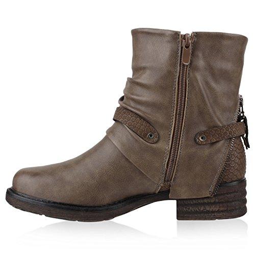 Stiefelparadies Damen Biker Boots Leder-Optik Stiefeletten Warm Gefütterte Booties Blockabsatz Winter Schuhe Winterboots Zipper Snake Print Flandell Khaki