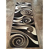 Modern Wide Runner Area Rug Chocolate Brown Sculpture Design 258 (32 Inch X 7 Feet