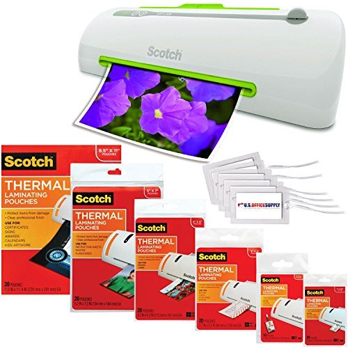 Scotch Pro Thermal Laminator, 2 Roller System, 16.06 x 4.25 x 4.96 Inches Combo Pack with 110 Assorted Pouch Sizes & Scotch Brand Luggage Tags by US Office Supply