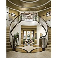 6x9ft Elegant Interior Stairs Seamless Poly Fabric Photo Backdrops Customized Studio Background Studio Props RM-027