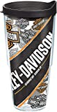 Tervis 1274107 Harley Davidson - Repeat Pattern Tumbler with Wrap and Black Lid 24oz, Clear