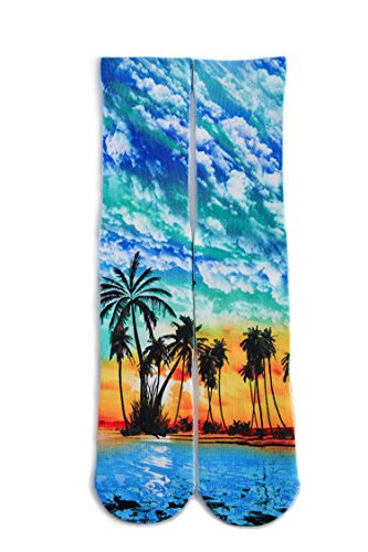 y Novelty Tropical Sunset Beach Pattern 3d Print Footwear Casual Athletic Sports Crew Tube Socks (Sunset Tropical Print)