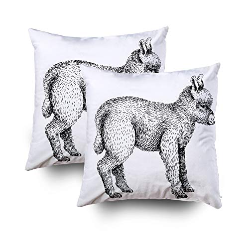 HerysTa Zip Pillow Case, Home Decorative Body Pillow Cover Pack of 2 18X18inch Invisible Zipper Cushion Cases Baby Farm Animal Domestic Little Cute Baby dkey Vtage st Square Sofa Bed Décor