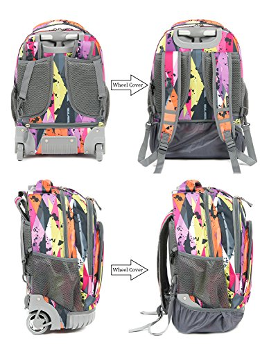 c13435bf35b9 Tilami New Antifouling Design 18 Inch Oversized Load Multi-Compartment Wheeled  Rolling Backpack Luggage for