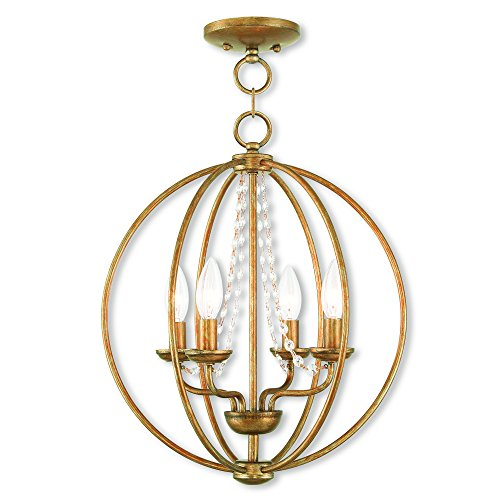 Crystal Gold Leaf Chandelier - Livex Lighting 40914-48 Arabella 4 Light Agl Mini Chandelier/Flush Mount, Antique Gold Leaf