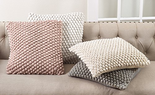 "SARO LIFESTYLE Camargue Collection Crochet Pom Throw Pillow with Down Filling, 20"" White"