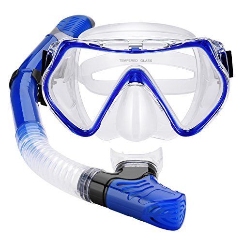 Mpow Snorkel Mask, Scuba Diving Mask for Snorkeling Diving Swimming, Easy Breath Scuba Snorkeling Gear with Silicon Mouth Piece and Easy Adjustable Strap (Blue)