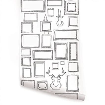 Frames Peel & Stick Fabric Wallpaper Repositionable - - Amazon.com