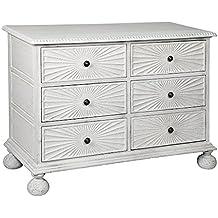 Kyree Global Bazaar Rustic White Carved Sunburst Dresser