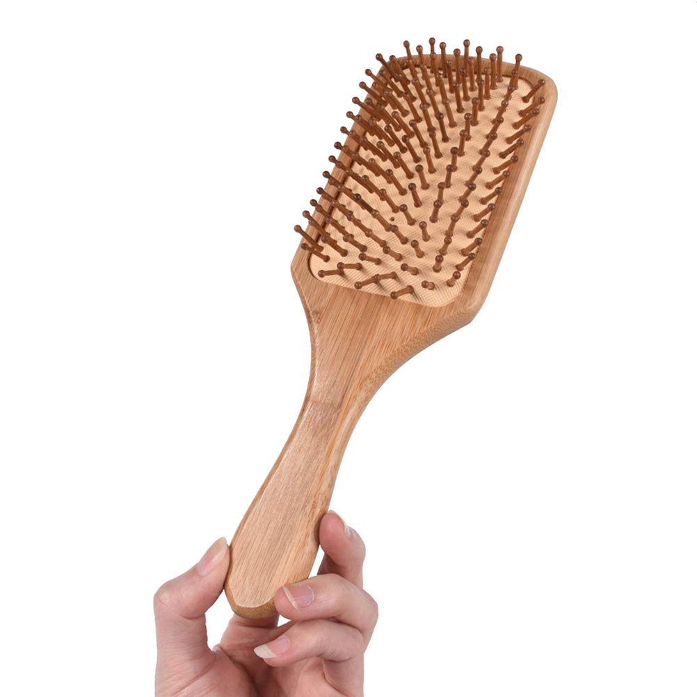 Yardwe Hair Comb Airbag Massage Comb Natural Bamboo No Static Hair Brush with Handle