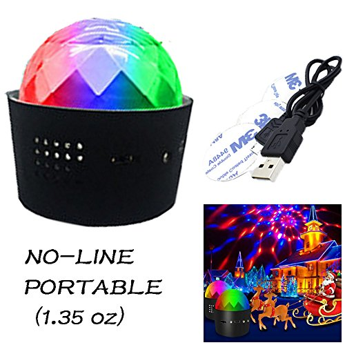 DJ Disco Light Portable Party Lights(Mini)-Sound Activated Multi-coloured Battery Operated Disco Ball Light, Car Decoration Light, Suitable for Perfect for dance party, Halloween,christmas (Wireless)
