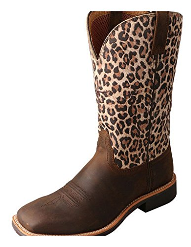 Twisted X Women's Leopard Top Hand Cowgirl Boot Square Toe Brown 9 M US by Twisted X