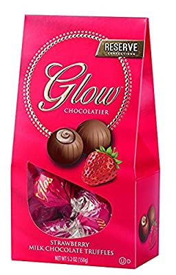 Milk Chocolate Truffles with Creamy Strawberry Filling (Pack of 3) by Glow Chocolatier   Delicious Gourmet Treats with Premium Cocoa   Perfect Holiday, Thanksgiving, Christmas Gift