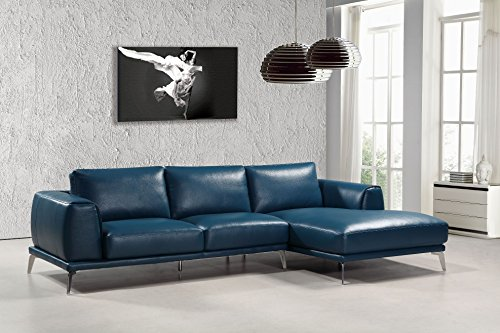 Limari Home LIM-72815 Dexter Collection Modern Living Room and Den Contemporary Bonded Leather Sectional Sofa, Navy Blue