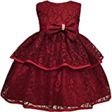 Toddler Baby Girls Lace Applique Christing Pageant Birthday Party Dress Claret 6-12M