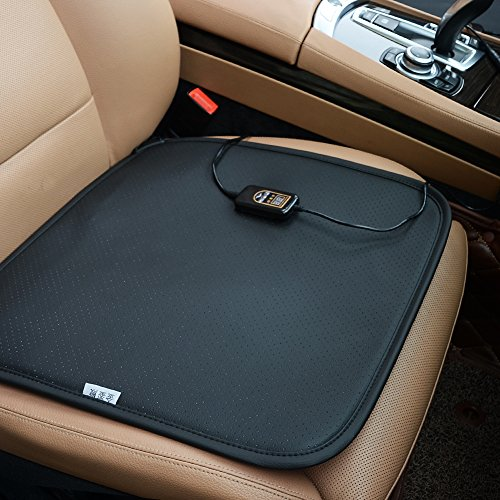 Black KINGLETING 12V Heated Seat Cushion with Intelligent Temperature Controller.