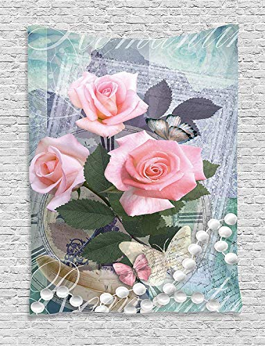 - THndjsh Pearls Decoration Tapestry Wall Hanging, Classic Rose and Pearls Romantic Dramatic Love Symbols Together Grace Bouquet Artwork, Bedroom Living Room Dorm Decor, 60 x 80 Inches, Pink Grey