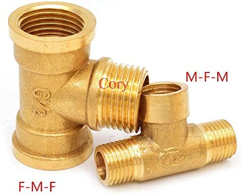 Juijnkt 1PC Brass Pipe Fitting Male-Female Thread Conversion Connect 1//8 1//4 3//8 1//2 BSP Tee Type Water Oil Gas Adapter 1//8 F-M-F