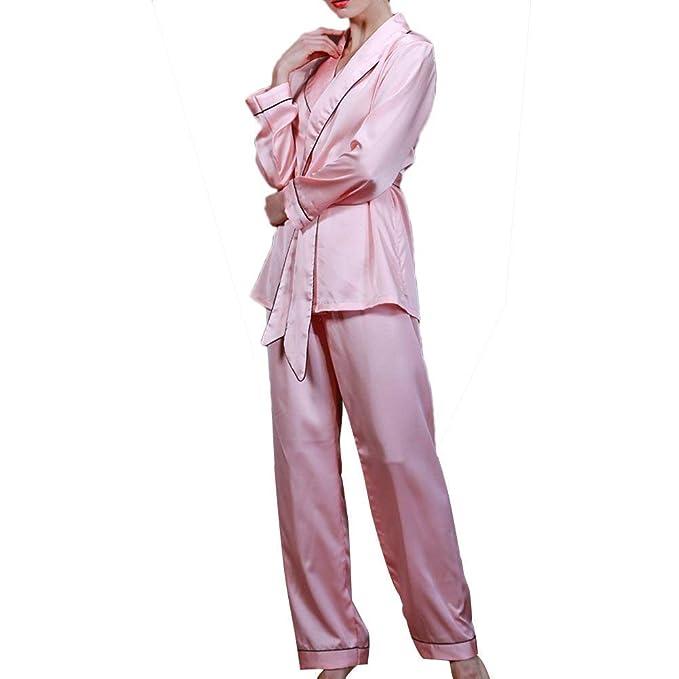 Mujer Batas Primavera Otoño Satín Conjunto De Pijama Elegante Ropa De Dormir V-Cuello Manga Larga con Cinturón Fashion Extravagante Casuales Mujeres Ropa De ...