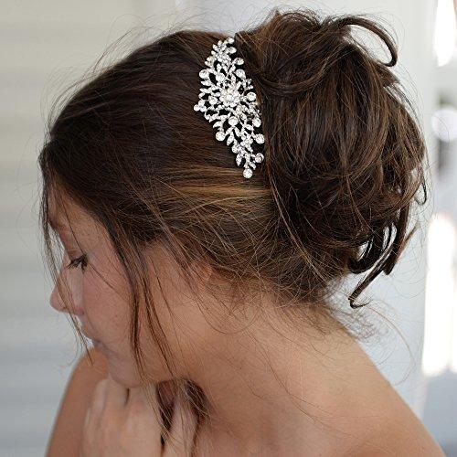 Mariell Silver and Crystal Petals Hair Comb