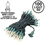 Novelty Lights 100 Light Heavy Duty Clear Christmas Mini Light Set, Green Wire, Connect 10, 50' Long