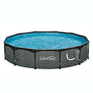 "SUMMER WAVES 12' x 33"" Above Ground Pool Set w/Pump, Dark Wicker"