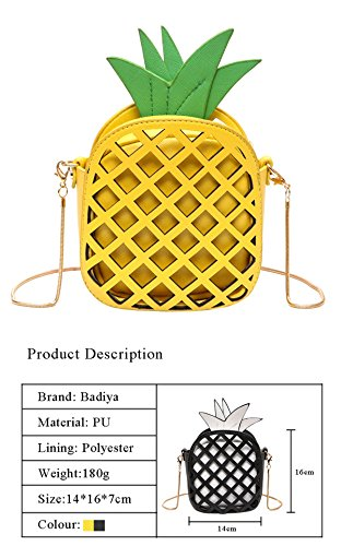 bolsa negro Crossbody en bolso cuero de de único piña bolso forma Girl la amarillo hombro de forma de de Badiya HX1FwqIPxn