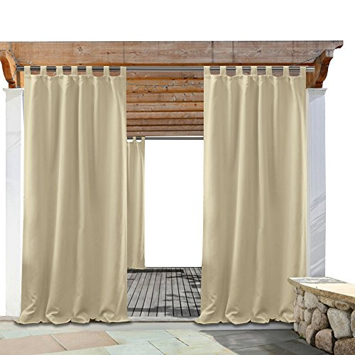 Cheap PONY DANCE Outdoor Indoor Curtain – Tab Top Stain Repellant Draperies Curtains Light Block Privacy Protect for Patio, 52″ W x 108″ L, Beige, Single Piece