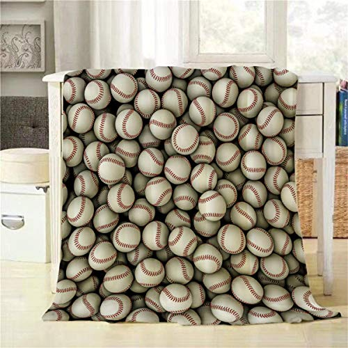 Mugod Baseballs Throw Blanket 3D Illustration of Panoramic View of Hundreds of Baseballs Decorative Soft Warm Cozy Flannel Plush Throws Blankets for Baby Toddler Dog Cat 30 X 40 Inch