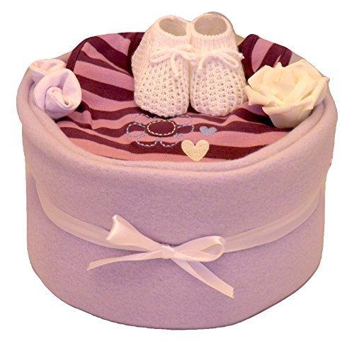 Peluche Gâteau de couches lilas pour filles Design Comprend couverture, bottines, bavoir, Mitaines & SOUVENIR ROSE emballage cadeau Greens & Co
