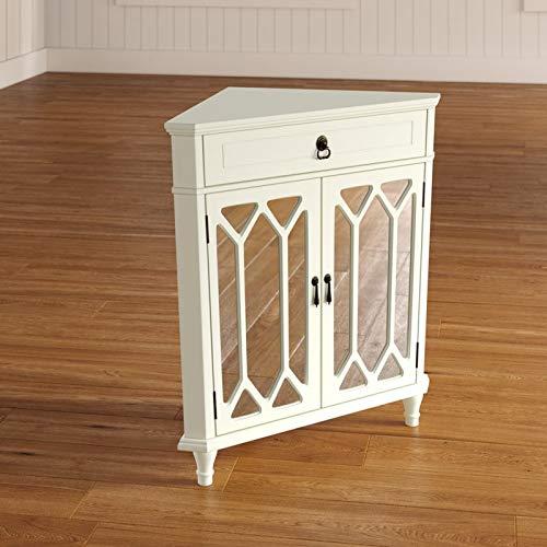 Corner Accent Cabinet - Contemporary Storage Organizer - Elongated Hexagonal Pattern (Antique White)