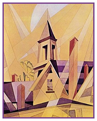 Orenco Originals Church in Provincetown Cubist Precisionism American Artist Charles Demuth Counted Cross Stitch Pattern