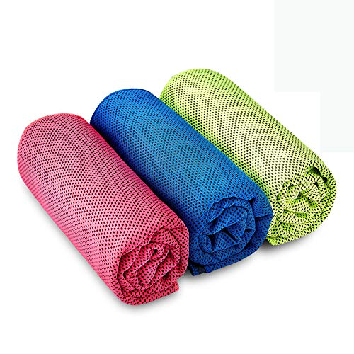 KUYOU Sport Cooling Towel 3 Pack Microfiber Quick Dry Towel for Travel Hiking Camping Yoga Fitness Gym Running 36 inch x 12 inch - Red Blue Green