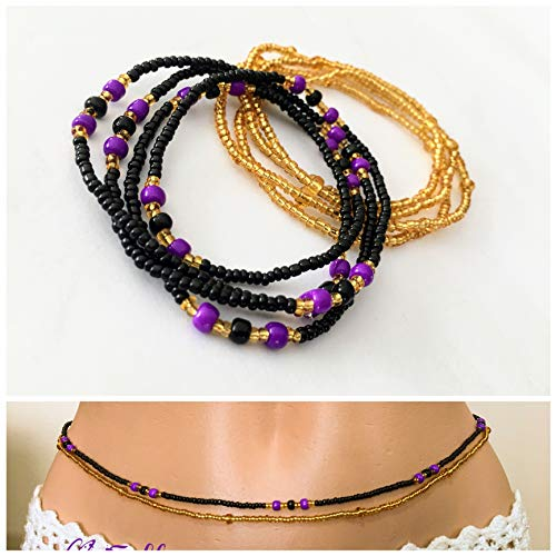 Handmade Waist Beads, 2 pcs Belly Bead Set, Belly Chain, Black Purble and Gold Waist Beads, Body Jewelry, African Waist bead, Waist chain, Stretchy Elastic String, Wear as Necklace Bracelet or Anklet